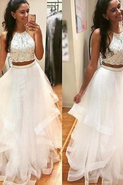 Cheap prom dresses two piece 2017 White 2 pieces long prom dress,evening dresses