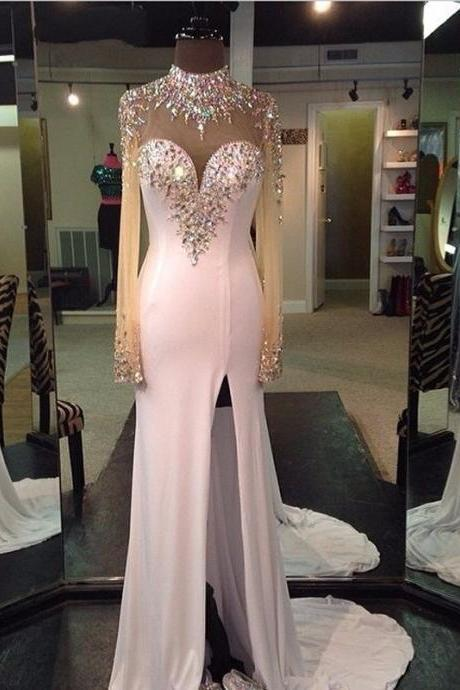 Cheap prom dresses 2017 New Arrival White Prom Dress,Beading Mermaid Evening Dresses,Sexy Backless Prom Dress 2017