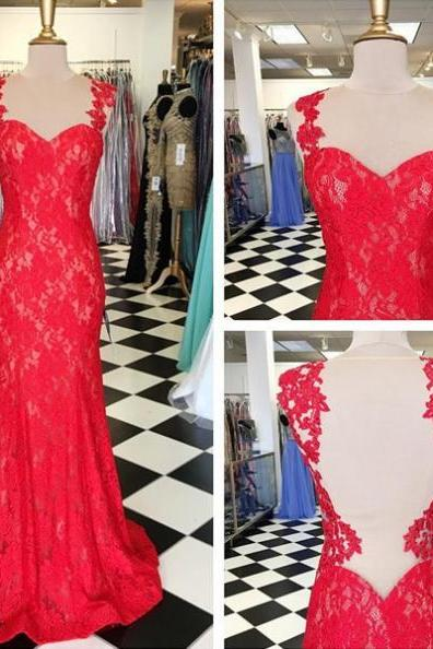 Cheap prom dresses 2017 Red Prom Dresses 2017 Sleeveless Floor-length Mermaid Lace