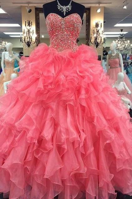 Cheap prom dresses 2017 Sweetheart Beading Ball Gown Organza Prom Dresses 2017
