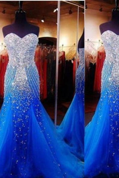 Cheap prom dresses 2017 Blue Trumpet/Mermaid Sweetheart Sleeveless Sweep/Brush Train Taffeta Prom Dresses 2017