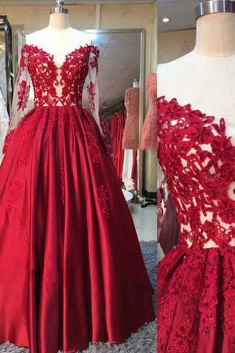 Cheap prom dresses 2017 Red Appliques Off-the-Shoulder A-line Satin Prom Dresses 2017