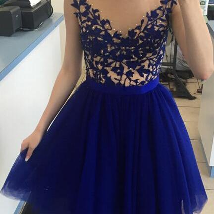 Charming Prom Dress,Tulle Homecoming Dress,Blue Backless Prom Dress,Short Prom Gown Cheap homecoming dresses 2017