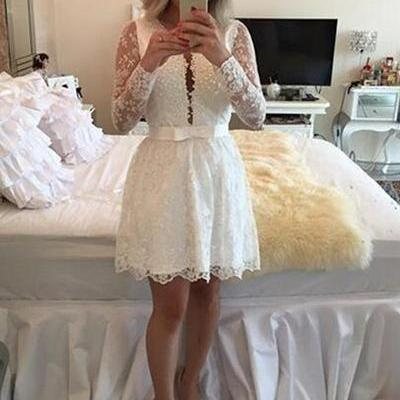 Cheap homecoming dresses 2017 Homecoming dress,Lace Prom Dress, Graduation dress, Party Dress,backless Homecoming dresses,long sleeves white lace prom gowns