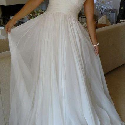Criss-crossed Sweetheart Chiffon Wedding Dress with Spaghetti Straps