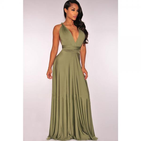 Oliva V Neck Prom Dress,Strappy Back Maxi Dress