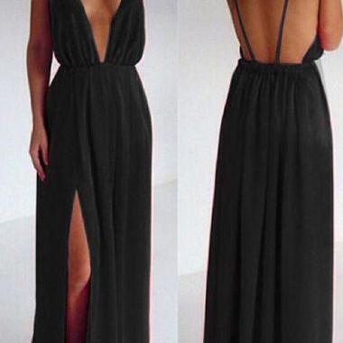Cheap prom dresses 2017,Deep V Neck, Maxi Dress, open back prom dresses, black evening dresses