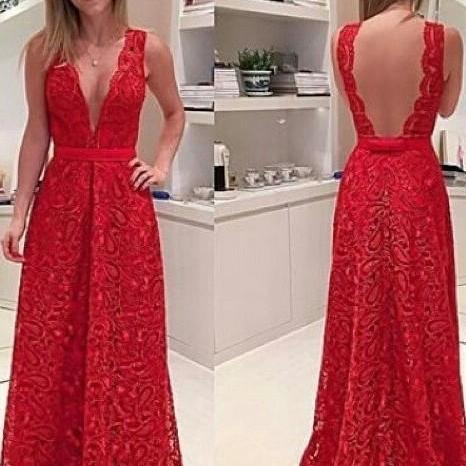 Prom GownRed Prom Dresses,Charming Evening Dress, Prom Gowns,Lace Prom Dresses,2017 New Prom Gowns,Red Evening Gown,Backless Party Dresses