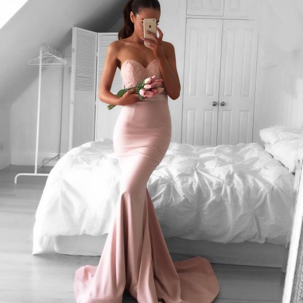 Prom Gown Sweetheart Mermaid Newest Sleeveless Sweep-Train Prom Dress Newest Mermaid Prom Dress