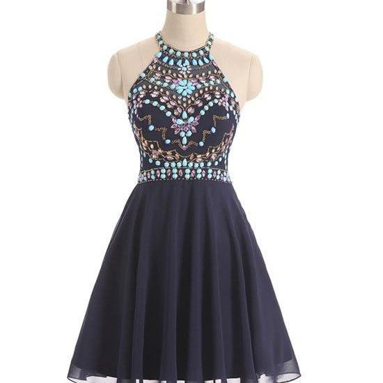Dark Blue Evening Dress,Beads Short Prom Dress,Cute Dark Blue Homecoming Dress,Halter Prom Dress,Sweet 16 Cocktail Dress,Homecoming Dress,