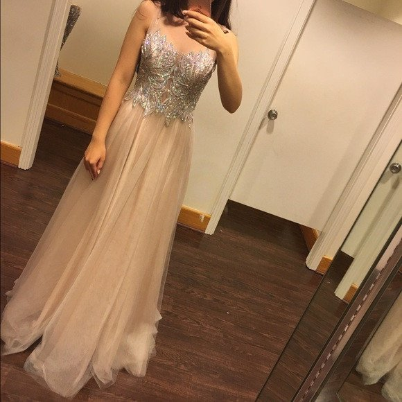 Cheap prom dresses 2017,Gorgeous Rhinestone Beaded Top Long A-line Sheer Tulle Prom Dresses,Fashion Prom Dress,Sexy Party Dress,Custom Made Evening Dress