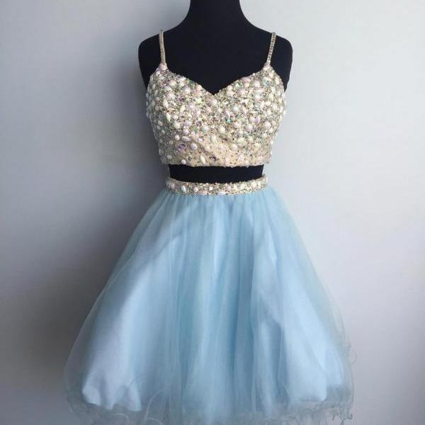 Cheap homecoming dresses 2017,Sexy Prom Gown,Spaghetti Straps Prom Dress,Two Piece Homecoming Dress,Tulle Party Dress