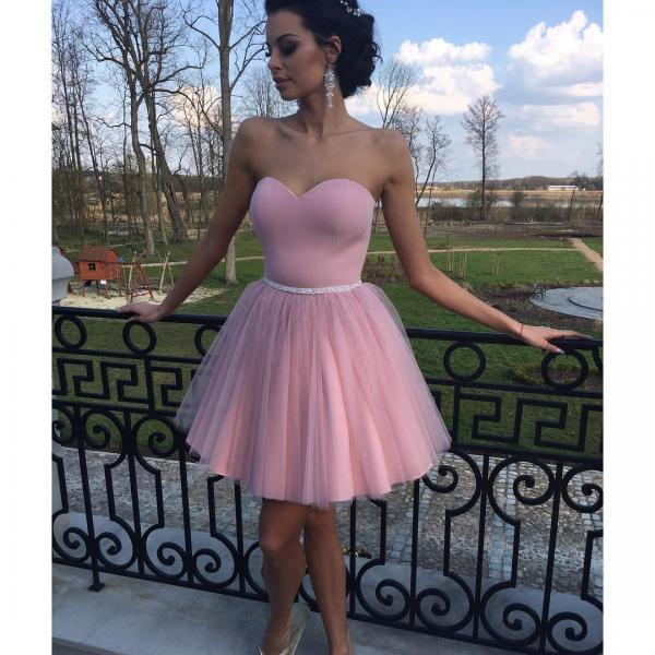 Cheap homecoming dresses 2017,Pink Short Homecoming Dresses 2017 Concise Sweetheart Little Cocktail Dresses Mini Length Puffy Prom Dresses with Sashes Simple Graduation Gown