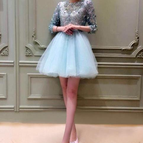Cheap homecoming dresses 2017,Charming Prom Dresses,Sexy Light Blue Tulle Prom Gown,Beading Prom Dress,Short Graduation Dress, Pretty Homecoming Dress