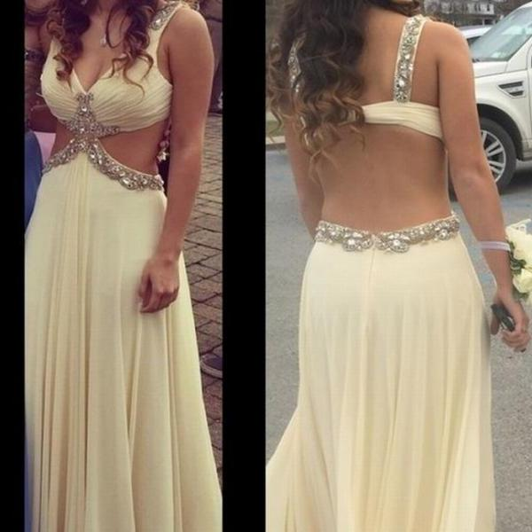 Cheap prom dresses 2017,Hot Sale High Quality Prom Dress,Chiffon Prom Dress,A-Line Prom Dress,Beading Prom Dress, Backless Evening Dress