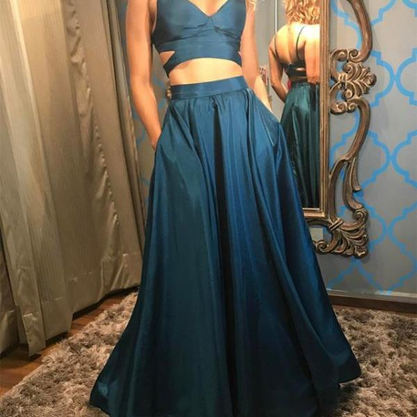 Cheap prom dresses 2017,Two Piece Prom Dress,Satin Dress,Teal Green Prom Gowns,2 piece Evening Dress