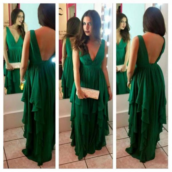Cheap prom dresses 2017,Hot Sale Charming Prom Dress,V-neck Prom Dress,Chiffon Prom Dress,Backless Prom Dress,A-Line Evening Dress