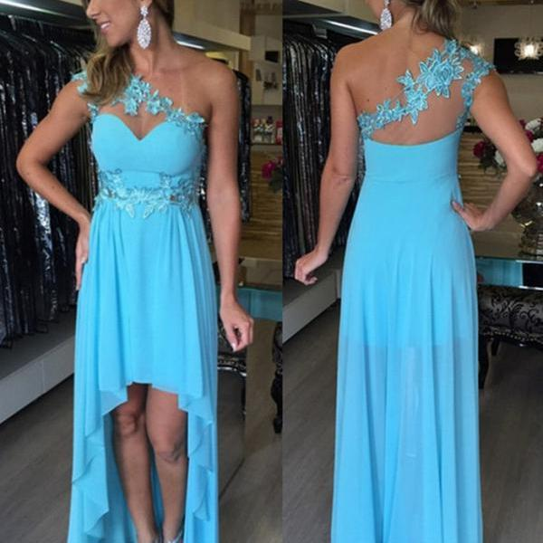 Cheap prom dresses 2017,Hot Sale Charming Prom Dress,High/Low Prom Dress,Chiffon Prom Dress,One-Shoulder Evening Dress