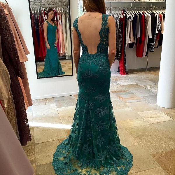 Cheap prom dresses 2017,New Arrival Prom Dress,Modest Prom Dress,green lace prom dress, prom dresses
