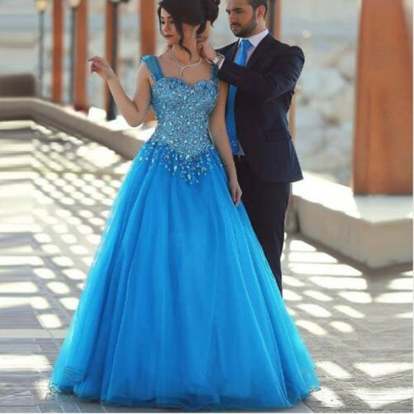 Cheap prom dresses 2017,Sexy Two Straps Ball Gown Quinceanera Dresses Princess Backless Sequined Puffy Tulle Long Prom Dresses Wedding Dresses Guest Gowns