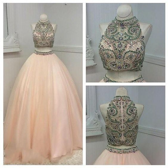 Cheap prom dresses 2017,Prom Dresses Montreal, 2017, Two Pieces Prom Dresses, Real Photos, Beading, Crystals Pearls, Pink, Tulle, Ball Gown, Quinceanera Dresses, With Zipper, Cheap Prom Dress