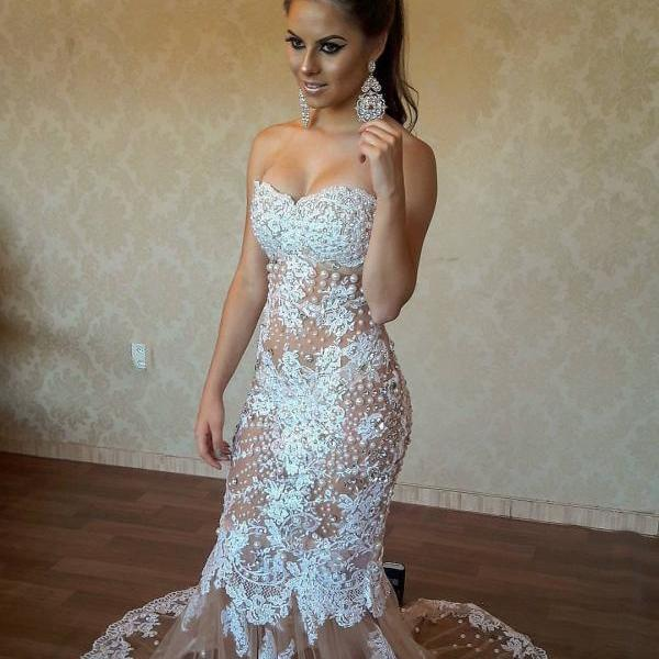 Cheap prom dresses 2017,Luxury Pearls Sexy Mermaid Evening Dress 2017 Sheer Tulle Lace Appliques Hot Sweetheart Formal Gowns Long Back Party Prom Dress