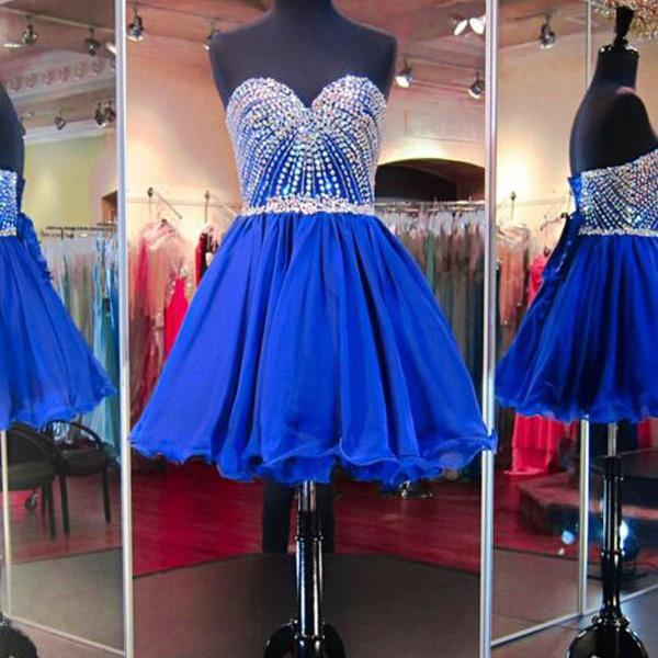 Cheap homecoming dresses 2017,Strapless Shining Homecoming Dress,Royal Blue Sweetheart Beading Homecoming Gown,Short Tulle Prom Dresses,Homecoming Dresses,Short Prom Dresses,