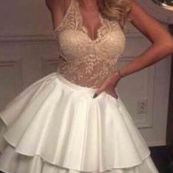 Cheap homecoming dresses 2017,Cute champagne lace white satin prom dress, homecoming party dress, prom dress