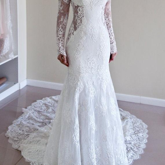 Cheap wedding dresses 2017,Lace Mermaid Bridal Dress, Trumpet Wedding Dress, Backless Wedding Dress, Long Sleeves Wedding Gown,Plus Size Wedding Dress,Wedding Dresses,