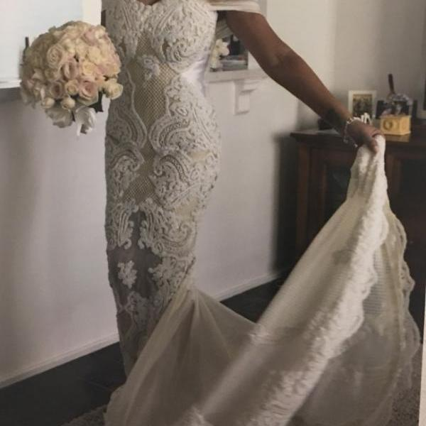 Off-the-Shoulder 3D Lace Mermaid Wedding Dress with Sheer Train