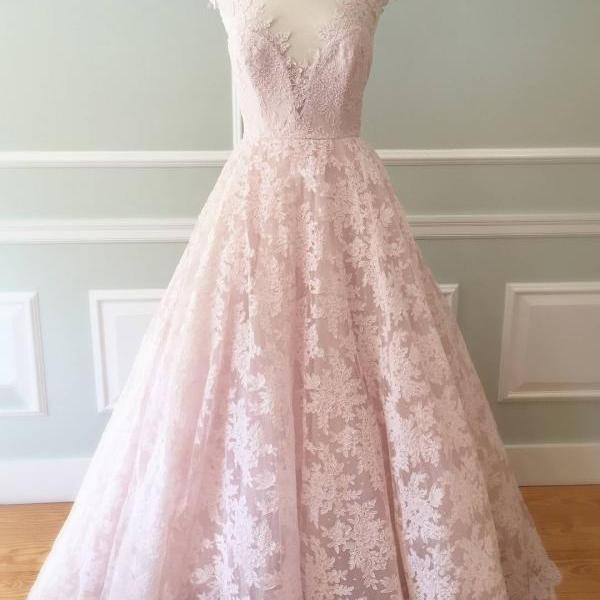 Cheap wedding dresses 2017,Blush Pink Lace Cap Sleeves Wedding Dresses Princess 2017 Vintage Style