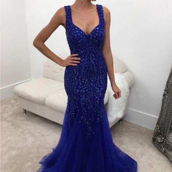 Cheap prom dresses 2017,Backless Long Crystal Beaded Mermaid Evening Dress in Dark Royal Blue