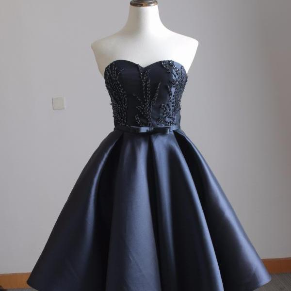 Cheap homecoming dresses 2017,Navy Blue Sweetheart A-line Short Satin Dress - Prom Dress, Graduation Dress, Evening Dress