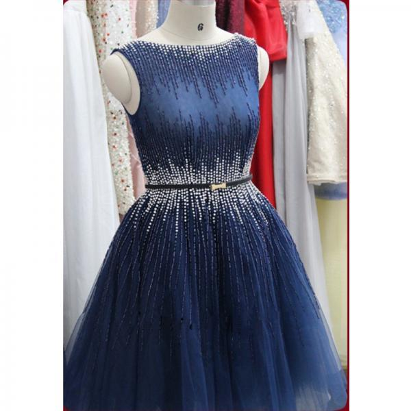 Cheap homecoming dresses 2017,Real Photo Navy Blue Prom Dresses Short Rhinestones Heavily Beaded See Through Back Luxury vestidos curtos formatura