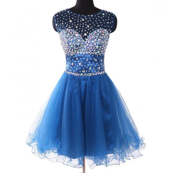 Cheap homecoming dresses 2017,Scoop Neck Short Tulle Homecoming Dresses 2017 Crystals Party Dresses Mini Women Dresses
