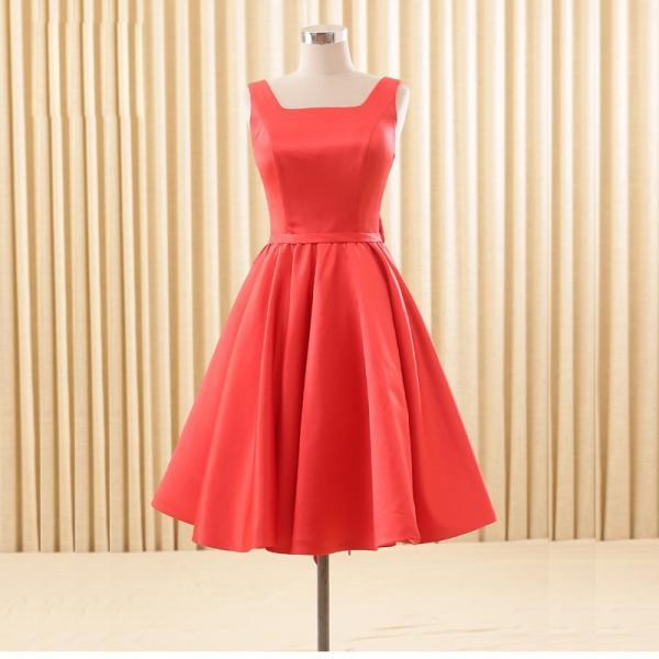 Cheap homecoming dresses 2017,Elegant Satin Red School Homecoming Dresses Backless Bowknot Knee Length Short Cocktail Prom Bridesmaid Gowns