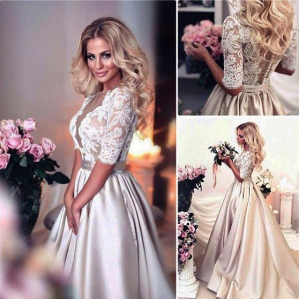 Champagne Lace Bridal Dresses,Half Sleeves Wedding Dresses,Bridal Dresses 2017