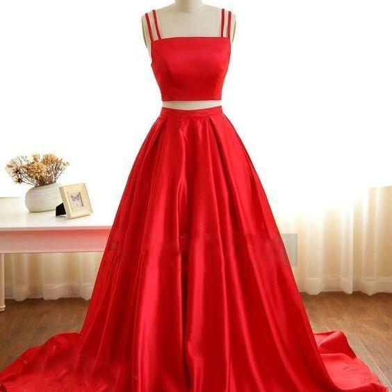 Cheap prom dresses 2017,Two Piece Prom Dresses,Spaghetti Straps Satin Prom Dresses