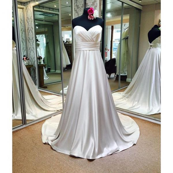 Strapless Sweetheart Ruched Satin A-line Wedding Dress