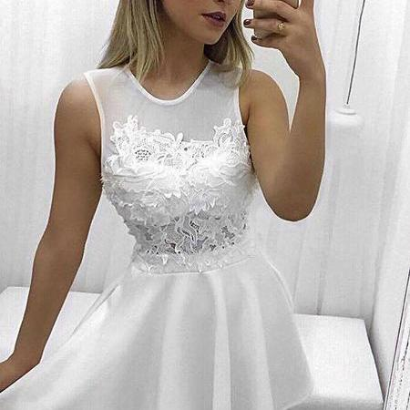 Lace Homecoming Dresses,2017 Jewel White Short Homecoming Dress With Lace