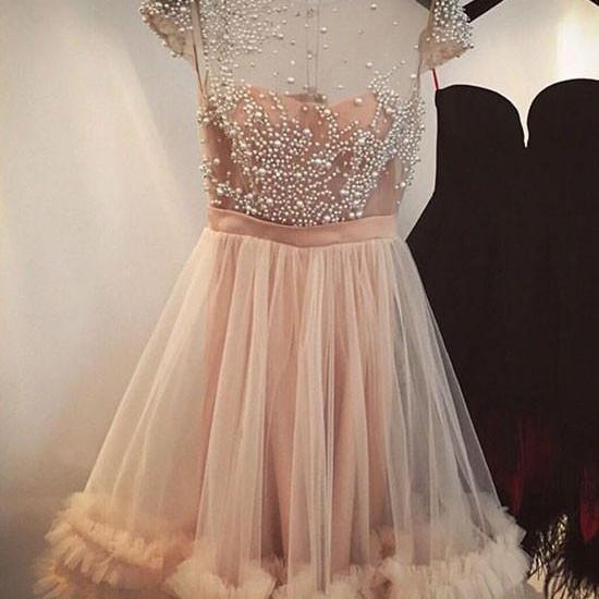 Coral Unique Cap Sleeves Tulle Short Homecoming Dress With Beading