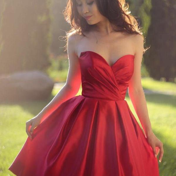 Sweetheart Backless Burgundy Satin Short Homecoming Dress