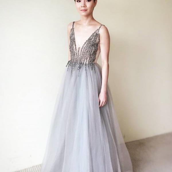 Sparkle Sleeveless Grey Tulle Prom Dress with Beading