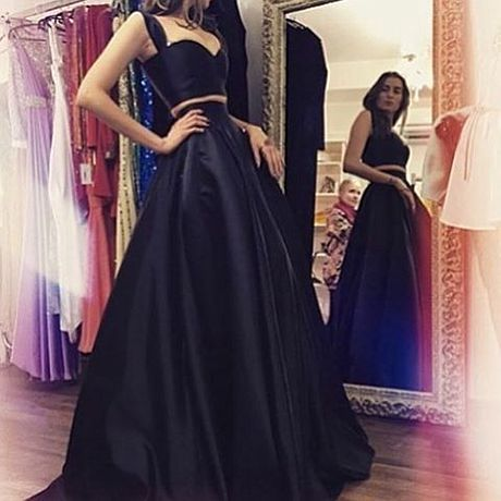 Cheap black two pieces long prom dress,evening dresses