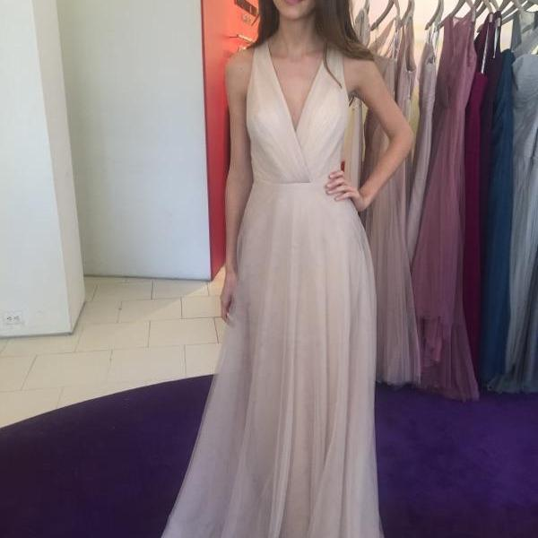 Nude V-Neck Sleeveless Floor-Length Bridesmaid Dress