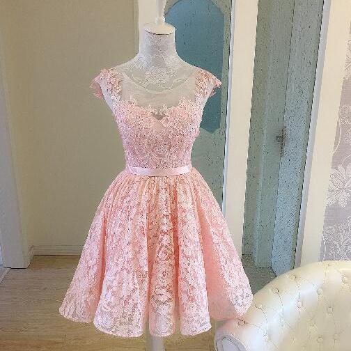 Cute Pink Homecoming Dresses Lace-Up Short Homecoming Dresses