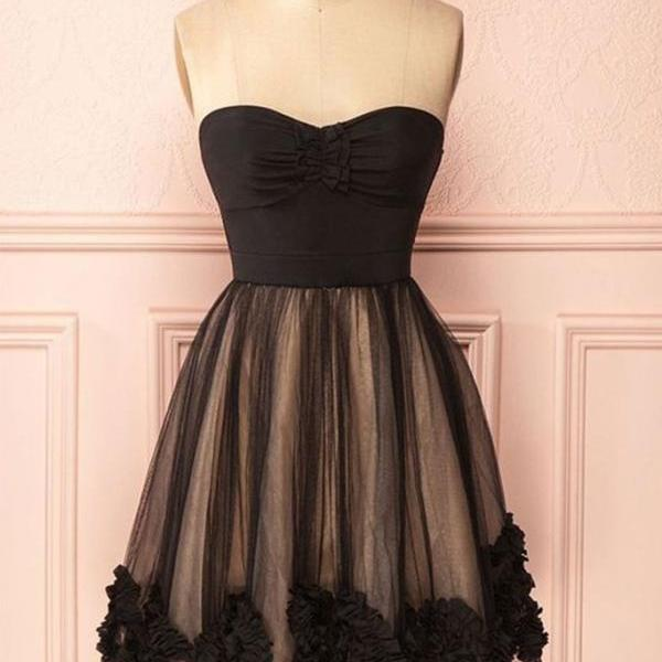 Cute Black Sweetheart Tulle Homecoming Dress