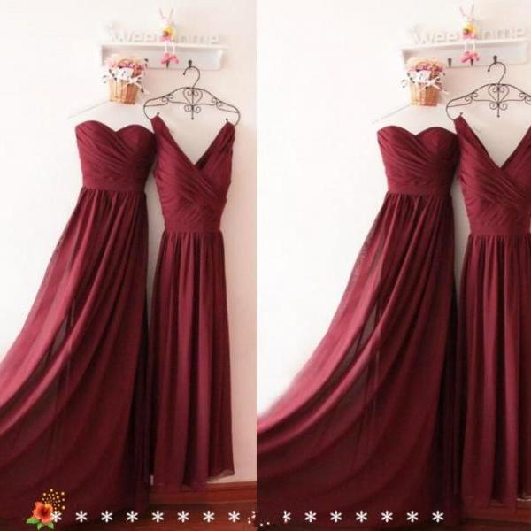 Charming Prom Dress V Neck Burgundy Bridesmaid Dress