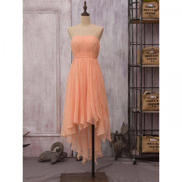 Custom Made Strapless Orange Pleated Chiffon High Low Bridesmaid Dresses with Empire Waistline