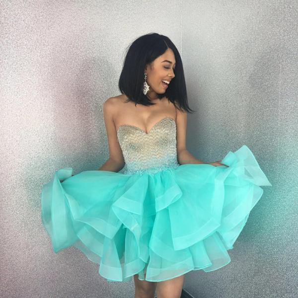 Cheap Green ruffles homecoming dress,turquoise party dress,short prom dresses